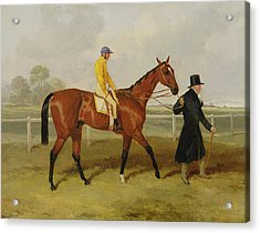 Sir Tatton Sykes Leading In The Horse Sir Tatton Sykes With William Scott Up Acrylic Print by Harry Hall