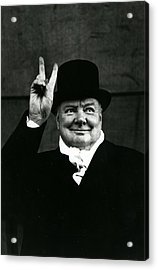 Sir Winston Churchill Peace Sign Acrylic Print by Retro Images Archive