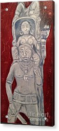 Acrylic Print featuring the painting Sirpam- Sculpture Painting by Brindha Naveen