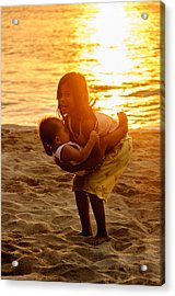 Sister And Brother On The Beach Acrylic Print by Colin Utz