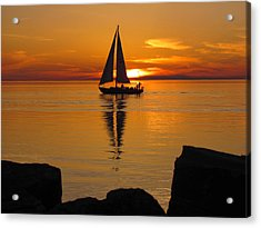 Sister Bay Sunset Sail 2 Acrylic Print