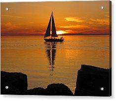 Sister Bay Sunset Sail 2 Acrylic Print by David T Wilkinson