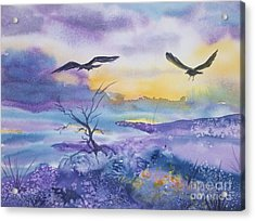 Acrylic Print featuring the painting Sister Ravens by Ellen Levinson