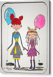 Sisters Friends Acrylic Print by Mary Kay De Jesus