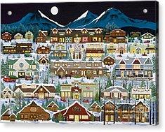 The Village Under The Cascades Acrylic Print by Jennifer Lake