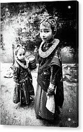 Sisters In Nepal Acrylic Print by Toru Matsunaga