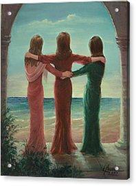 Acrylic Print featuring the painting Sisters by Laila Awad Jamaleldin