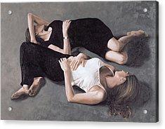Sisters Oil On Canvas Board Acrylic Print by John Worthington