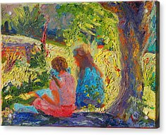 Acrylic Print featuring the painting Sisters Reading Under Oak Tree by Thomas Bertram POOLE