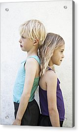 Sisters Standing Back To Back Acrylic Print by Johner Images