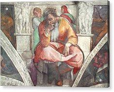 Sistine Chapel Ceiling The Prophet Jeremiah Pre Resoration Acrylic Print by Michelangelo Buonarroti