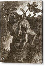 Sisyphus Pushing His Stone Acrylic Print