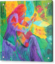 Acrylic Print featuring the painting Sit'n And Pick'n by Nancy Jolley