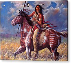 Acrylic Print featuring the painting Sitting Bull by Harvie Brown