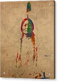Sitting Bull Watercolor Portrait On Worn Distressed Canvas Acrylic Print by Design Turnpike
