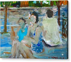 Sitting Figures  Acrylic Print by Edward Ching
