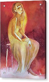 Sitting Girl Acrylic Print by Alessandro Andreuccetti