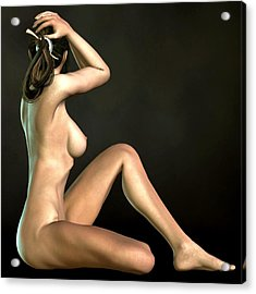 Acrylic Print featuring the digital art Sitting Hude Holding Head by Kaylee Mason