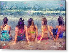 Sitting In The Surf Acrylic Print by Erika Weber