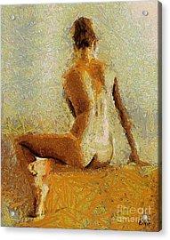 Sitting Nude II Acrylic Print by Dragica  Micki Fortuna