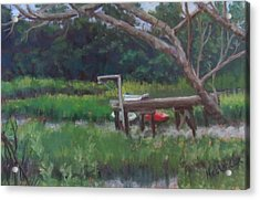 Sitting On The Dock Acrylic Print by Denise  Cox