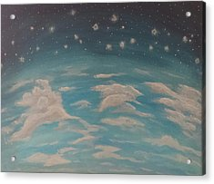 Acrylic Print featuring the painting Sitting On Top Of The World by Thomasina Durkay
