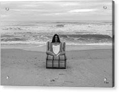 Sittinng On The Beach Acrylic Print by Thomas Leon