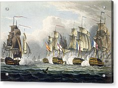 Situation Of The Hms Bellerophon Acrylic Print by Thomas Whitcombe