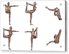 Six Different Views Of Dancer Yoga Pose Acrylic Print