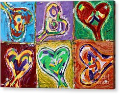 Six Hearts Acrylic Print by Kelly Athena