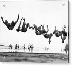 Six Men Doing Beach Flips Acrylic Print