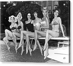 Six Showgirls At The Pool Acrylic Print by Underwood Archives