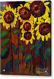 Six Sunflowers Acrylic Print by Claire Bull