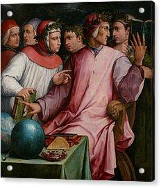 Six Tuscan Poets Acrylic Print by Giorgio Vasari