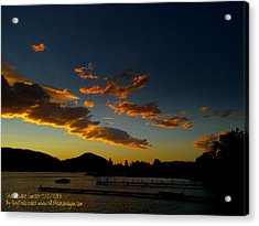 Acrylic Print featuring the photograph Skaha Lake Sunset 02 July02/2013 by Guy Hoffman