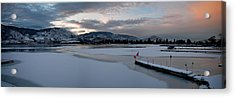 Skaha Lake Sunset Panorama 02-27-2014 Acrylic Print by Guy Hoffman