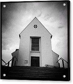 Skalholt Cathedral Iceland Europe Black And White Acrylic Print