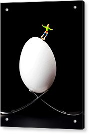 Skateboard Rolling On A Egg Acrylic Print by Paul Ge