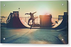 Skateboarder Jumping Acrylic Print by Fran Polito