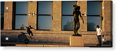 Skateboarders In Front Of A Building Acrylic Print by Panoramic Images
