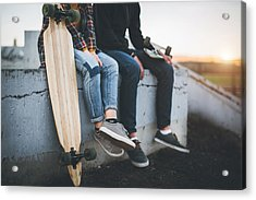 Skateboarders Taking A Rest In Skate Park Acrylic Print by Hobo_018