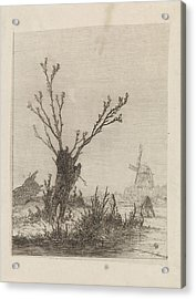 Skater With Sled Near A Willow, Print Maker Johannes Acrylic Print