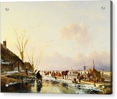 Skaters By A Booth On A Frozen River Acrylic Print by Andreas Schelfhout