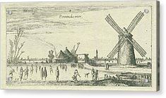 Skaters On The Ice At A Mill Near Penningsveer Acrylic Print