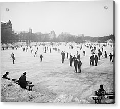 Skating In Central Park Acrylic Print by Anonymous