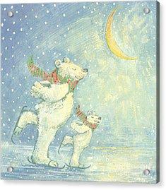 Skating Polar Bears Acrylic Print by David Cooke