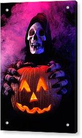 Skeleton Holding Pumpkin  Acrylic Print by Garry Gay
