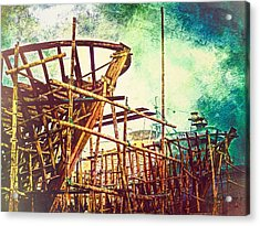 Skeletons In The Yard - Boatbuilding In Ecuador Acrylic Print