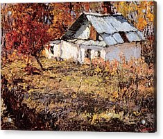 Sketch Of A Maple Tree And A Peasant House Acrylic Print by Jake Hartz