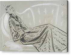 Sketch Of A Woman Wearing A Matelasse House Robe Acrylic Print